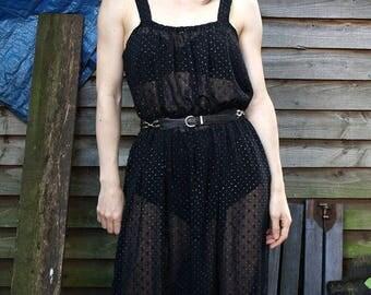 Black Translucent 70s Dress