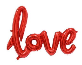"Red Love Balloon for Bridal Showers, Engagements, Bachelorette Parties, Weddings, Valentine's Day | Mylar / Foil | Cursive Script 40"""