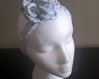 Flower Crochet Headband Shades of White and Black