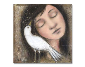 """painting """"You're here"""" bird girl secret complicity"""