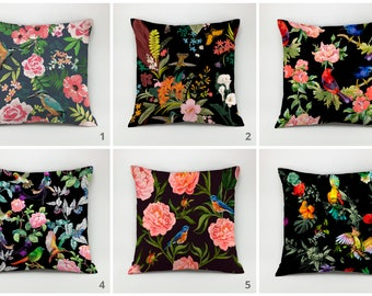 Birds pillow cover flowers pillow case exotic pillow Throw pillow Decorative Pillow floral pillow animal pillow flowers decor vintage pillow