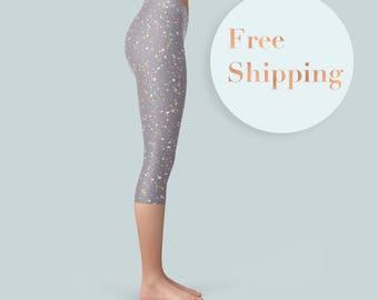 Pastel Leggings, Minimalist Leggings, Purple Yoga Wear, Workout Pants, Summer Leggings, Fitness Capris, Gym Capris, Yoga Leggings