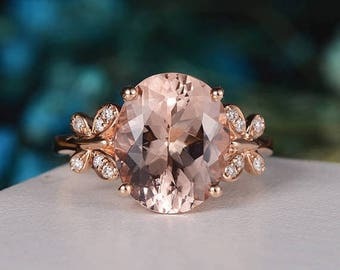 Morganite Ring Oval Cut Rose Gold Engagement Ring Statement Diamond Butterfly Unique Art Deco Inspire Anniversary Gift For Her