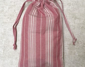 bag - unique - Burgundy striped ticking beige - cotton bag