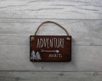 Adventure Awaits, Wooden Sign, Baby Room Sign, Small Sign, Pallet Wood Sign, Hanging Sign, Wall Sign, Adventure Sign, Woodland Decor, Pallet