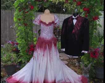 Bloody Bridal Gown Tim Burton Wedding Dress Vampire Costume Halloween Bride Size 6