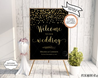 Welcome to Our Wedding Sign EDITABLE PRINTABLE Reception Personalized Greet Guests Poster Black Gold Confetti Sparkle New Years Eve PCGBCWS