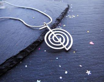 Cho Ku Rei Symbol Silver Necklace, Energy Necklace, Reiki Necklace, Reiki Symbol Necklace, Cho Ku Rei