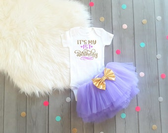 Girls 1st Birthday Outfit 1st Birthday Outfit Girls First Birthday Outfit First Birthday Outfit Lavender Gold Birthday Outfit Birthday Tutu