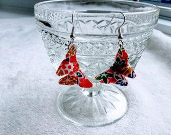 Origami butterfly earrings // red earrings
