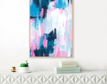 Pink and Blue Abstract Painting, Large Abstract Painting, Modern Art Print, Extra Large Wall Art, Pink and Navy Wall Art, Abstract Art