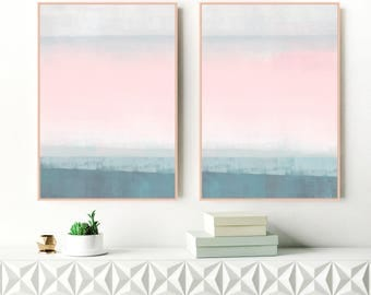 Pink and Teal Minimalist Paintings, Set of 2 Art Prints, Large Acrylic Abstract Prints, Diptych Wall Art, Relaxing Art, Original Art