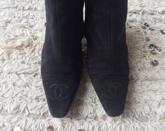 Vintage CHANEL CC Logo Black Suede Leather Chelsea Midi Boots 37.5 us 6.5 - 7