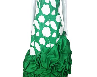 SCAASI Boutique Vintage Green and White Silk Cocktail gown
