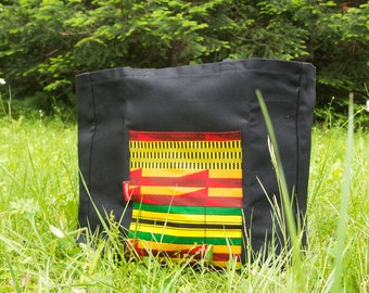 Bag, tote bag, black, African market, grocery bag, made of eco-friendly and zero-waste in Quebec