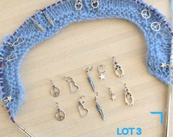 Set of 10 stitch markers for knitting - set no. 3