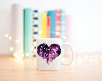 Reading is My Happy Place, Celestial Watercolors, Mugs for Mom, Mugs for Readers, Galaxy, Bookworm Gift, Book Lover Gifts, Gifts for Readers