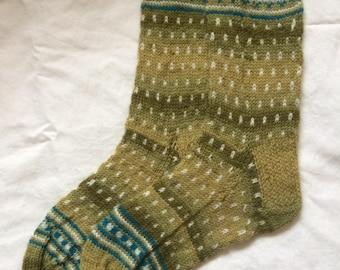 Hand Knitted Ladies wool socks - Fairisle
