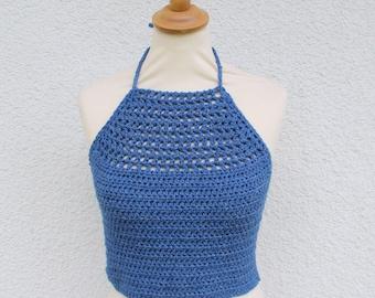 Boho Tops, Boho Top Crochet, Boho Crop Top, Hippie Crochet, Hippie Top, Blue Crop Top, Crochet Crop Tops, Crop Tops for Women, Festival Top