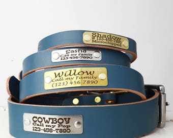 Personalized Engraved Blue Leather Dog Collar -- Classic Belt Buckle Style with Rivet Nameplate