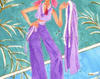 Original Modern Hanbok Girl Painting