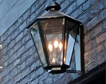 Copper Lantern Pendant Light Fixture Rustic Outdoor Gas Or Electric Antique Vintage