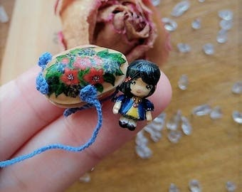 "Snow White OOAK Wooden Miniature 1.55cm 0.61"" Art Doll by Julia Arts"