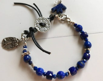 Be Strong Inspirational Bracelet~ Lapis Lazuli Bracelet ~ Tree of Life Bracelet~ Leather and Stone Bracelet