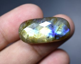 Natural Labradorite Checkerboard Cut Oval Cabochon Gemstone 18 Cts 13x26x6mm (4271)
