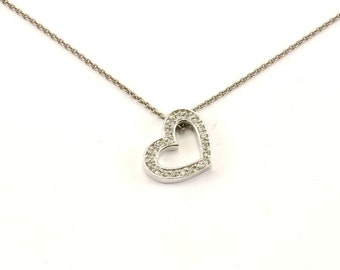 Vintage Heart CZ Inlay  Necklace 925 Sterling Silver NC 939