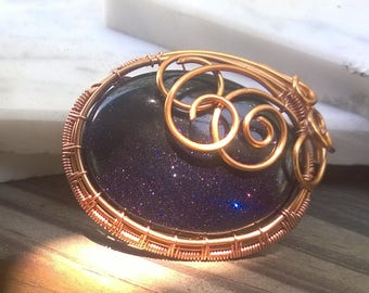 Deep blue Goldstone and solid copper fancy brooch pin