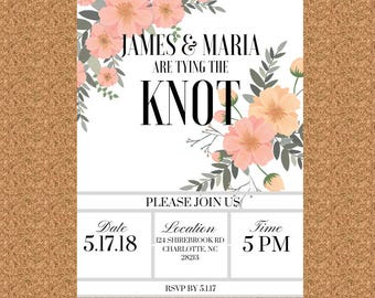 Printable or Physical Wedding Invitation, RSVP Combo, Tie The Knot Invitation, Cutomize, Flower