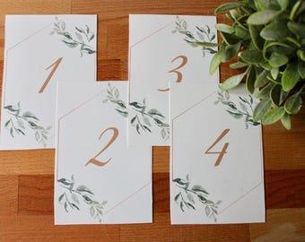 Greenery Table Numbers, Wedding Table Numbers, Digital Download, Instant Print