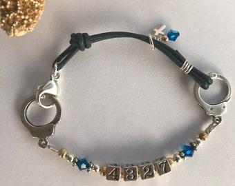 Police Wife Jewelry, Police Badge Number Bracelet, Thin Blue Line Bracelet, Law Enforcement Police Officer Jewelry, Black Blue Bracelet