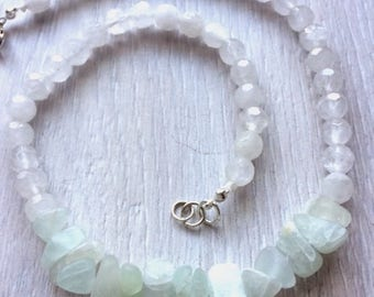 Frosted Fluorite & Crystal Quartz Necklace
