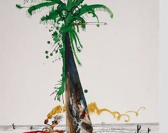 Ralph Steadman Hand Signed Hunter S. Thompson Palm Tree  Art Print