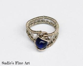 Deep Blue and Silver Wire Wrap Ring