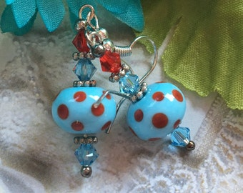 Blue Lampwork Earrings with Red Polka Dots, Mothers Day Gift, Lampwork Earrings, Lampwork Jewelry, Gift For Her, SRA Lampwork Jewelry