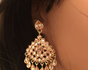 Ronak Series - antique Champagne crystal Stone 22K gold plated Earrings/Bollywood/ Temple/Saree/Festive Gorgeous ooak Earrings