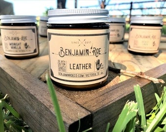 Leather - Scented Soy Candle - Vegan - Hand Poured