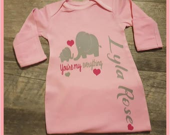 Baby Girl Gown, Elephant, Pink Baby Gown, Baby Gowns, Gray Elephant, Pink Elephant, Monogrammed Baby Gown, Elephant and Hearts