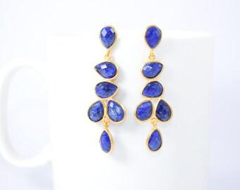 sapphire earring,blue color earring,chandelier earring, birthstone earring,gemstone earring,gold plating earring,sapphire bezel stud,