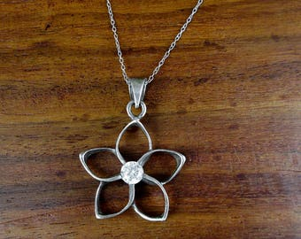 925 Sterling Flower & Rhinestone Necklace - Vintage
