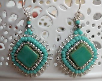 Turquoise and Silver Bead Embroidered Earrings