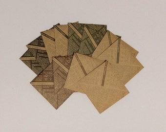 Kraft Paper Handmade Envelopes, Small Envelopes Set, Newspaper Origami Pattern Envelopes - Set of 12
