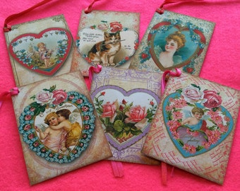 Set of 6 Valentines  labels or Valentines gift tags handmade vintage style vintage inspired Victorian luxury shimmering card satin ribbon