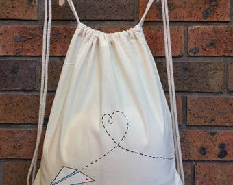 Love paper plane - Drawstring backpack, lightweight backpack, eco friendly daypack bag