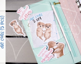 Otter love die cuts - Otters planner die cut - Love TN and planners decoration and accessory - Otter love ephemera - Embellishments