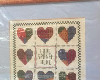 Cross stitch kit, frameable cross stitch, Heartstrings kit, The Creative Circle #1675, Love Spoken Here, NOS, frameable art