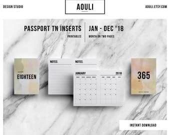 Passport TN Insert | Passport TN Size | Passport TN Insert Printable | Month on Two Pages | Travelers Notebook Insert | Printable Insert